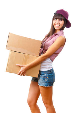 Young girl with cardboard boxes in hand isolated photo