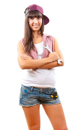 Young girl with spanner is ready to fix anything Stock Photo - 10596577