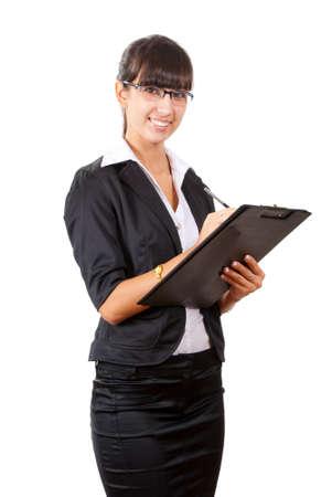 secretaria sexy: Escribir un sonriente mujer de negocios. Aislados sobre fondo blanco