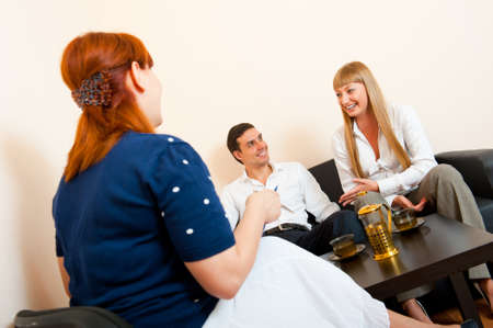 Young married couple consults at the psychologist Stock Photo