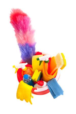 Cleaning tools in a red bucket isolated over white photo