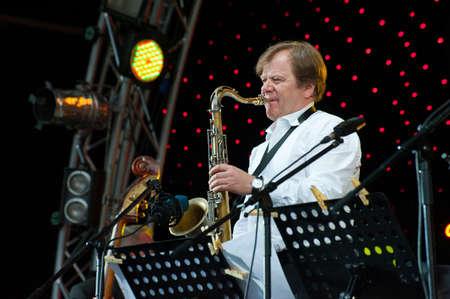 MOSCOW - JUNE 5: Russian jazz musician Igor Butman performs on open-air VIII International Festival