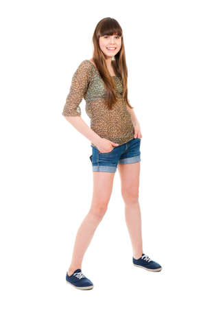 Full-length portrait of a teenage girl isolated Stock Photo - 10802159