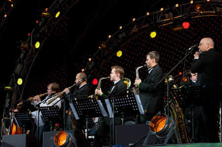 MOSCOW - JUNE 5: Igor Butman and his band performing at open-air VIII International Festival