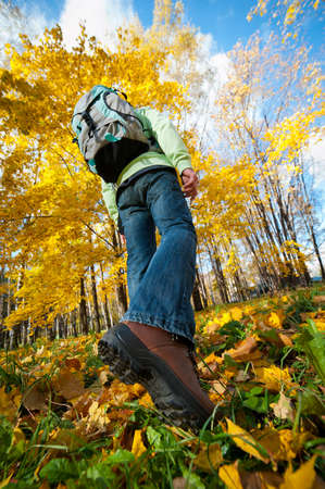 Young man with backpack walking through autumn forest photo