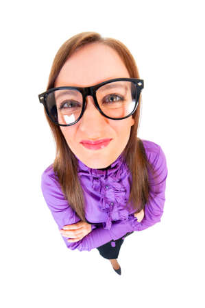 Unsatisfied businesswoman top view wide angle full portrait isolated over white photo