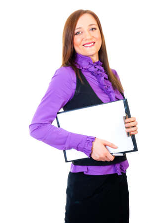 Young businesswoman holding tablet isolated over white background photo