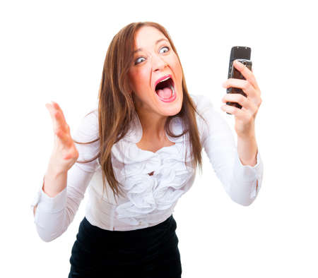 Angry businesswoman screaming on a cell phone Stock Photo - 11295630