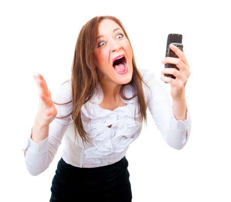 femme bouche ouverte: D'affaires en colère criant sur un téléphone cellulaire