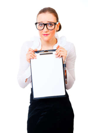 modest: Modest and intelligent business woman holding tablet isolated over white background