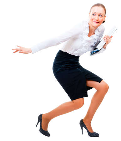 stealer: Businesswoman stole the secret files. Isolated over white background