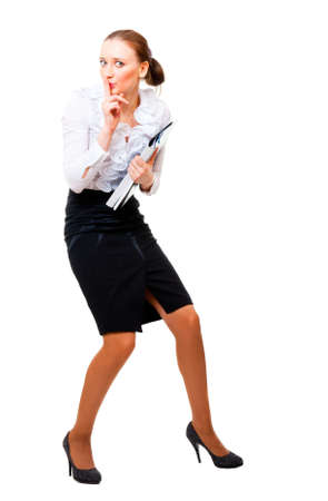 stole: Businesswoman stole the secret files. Isolated over white background