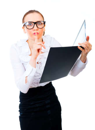 swindled: Businesswoman reading stolen secret files. Isolated over white background Stock Photo