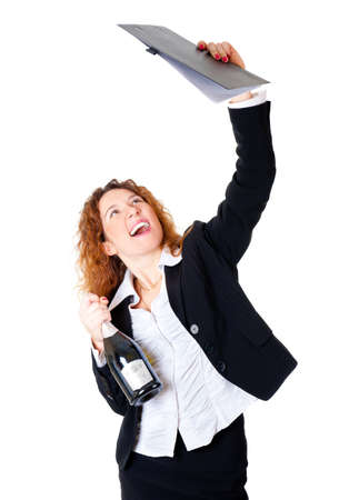 deal in: Excited business woman enjoys a successful deal. In her hands files and a bottle of champagne. Isolated over white background