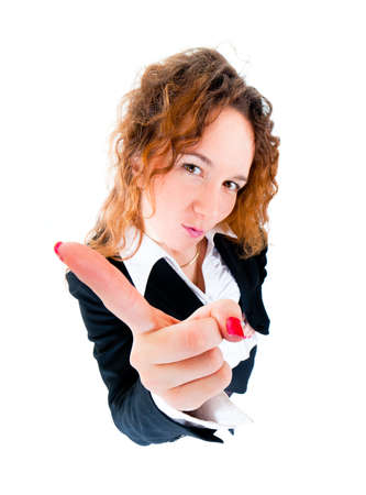 Business woman wag his finger. Wide angle top view humorous portrait photo