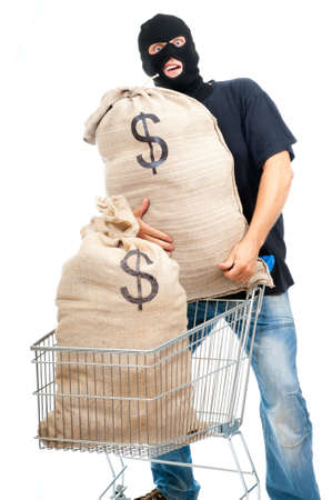 Happy robber with sacks full of dollars isolated on white photo