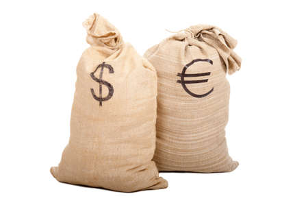 Two sacks full of cash. American dollars and Euro. Isolated on white background photo