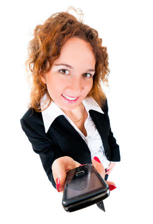 angle views: Businesswoman holds out a mobile phone. Wide angle top view humorous portrait