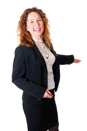 gestures: Friendly smiling business woman welcoming. Isolated over white background