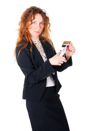 Bank employee ready to scissor a credit card. Isolated over white photo