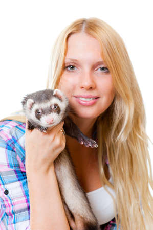 Girl with ferret isolated on white background photo