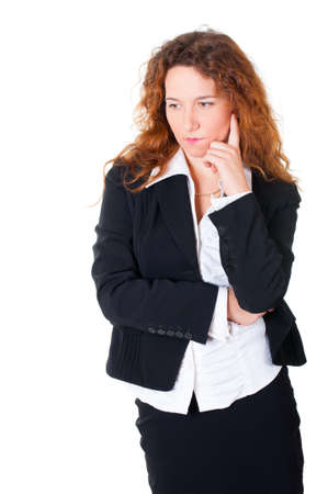 Thinking business woman. Isolated over white background photo