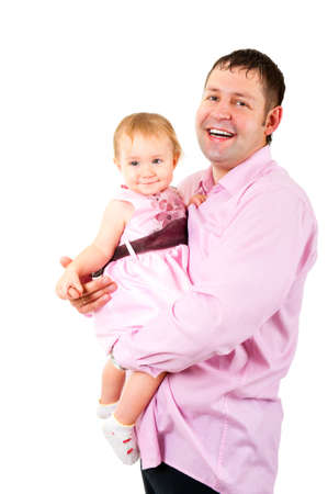 Father holding his little daughter in the hands isolated photo
