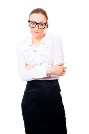 modest: Modest and intelligent business woman portrait isolated over white background Stock Photo