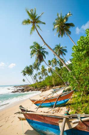 ヤシの木とスリランカの漁船と手付かずの熱帯のビーチ 写真素材 - 13297752