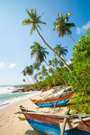 Untouched tropical beach with palms and fishing boats in Sri-Lanka Stockfoto