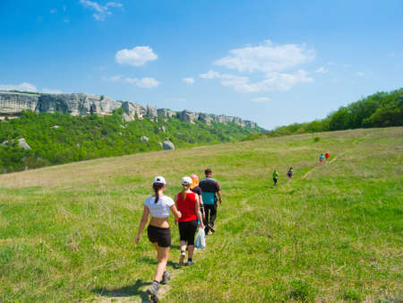 Young people hikes in Crimea mountains Stock Photo - 13731651