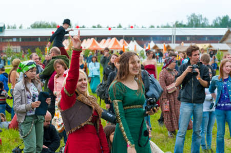 wild mint: ETNOMIR, RUSSIA - JUNE 2: Unidentified people having fun on open-air international ethnic music Wild Mint Festival on June 2, 2012 in Etnomir near Borovsk city, Russia Editorial