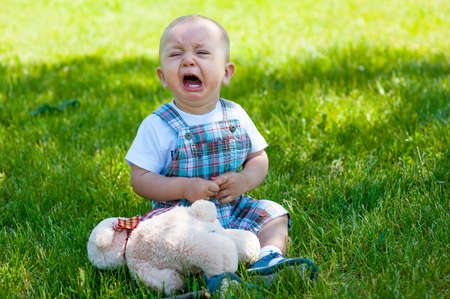 baby facial expressions: Crying toddler sitting on a grass