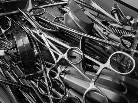 Surgical instruments black and white close-up Stock Photo