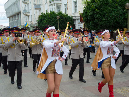 sumy: SUMY - JUNE 28: Military brass band performing at celebration of the Constitution of Ukraine on June 28, 2012 in Sumy, Ukraine Editorial