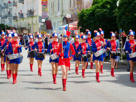 SUMY - JUNE 28: Girls drummers performing at celebration of the Day of Constitution of Ukraine on June 28, 2012 in Sumy, Ukraine