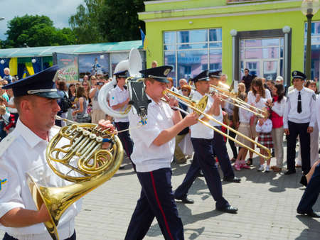 SUMY - JUNE 28: Military brass band performing at celebration of the Constitution of Ukraine on June 28, 2012 in Sumy, Ukraine