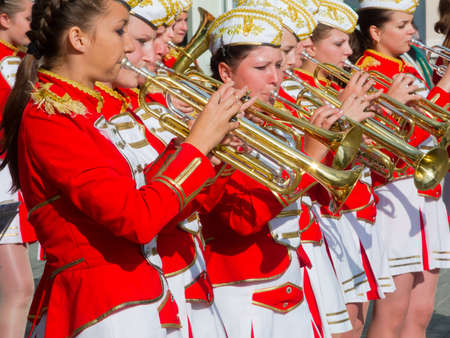 sumy: SUMY - JUNE 28: Female Brass Band performing at celebration of the Day of Constitution of Ukraine on June 28, 2012 in Sumy, Ukraine