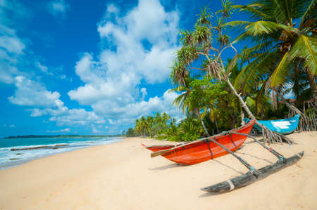 Untouched tropical beach with palms and fishing boats in Sri-Lanka photo