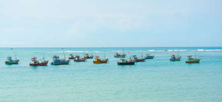 Lots of fishing boats in Weligama bay, Sri Lanka photo