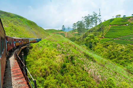 Travel by train through scenic mountain landscape in Nuwarelia, Sri Lanka photo