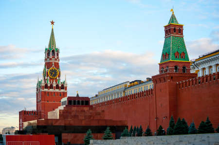 Spasskaya tower and mausoleum in Kremlin on Red Square, Moscow, Russia photo