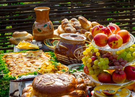 russian easter: Traditional ukrainian food in assortment in festive decorating Stock Photo