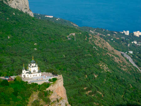 lacet: Church of the resurrection. Foros, Crimea, Ukraine. Top view