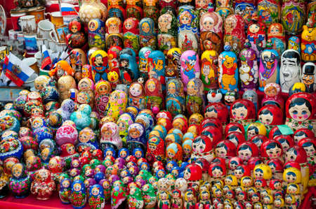 matroshka: MOSCOW - JULY 26: Very large selection of matryoshkas and other Russian souvenirs at the gift shop on July 26, 2012 in Moscow on Red Square. Nesting dolls are the most popular souvenirs from Russia Editorial