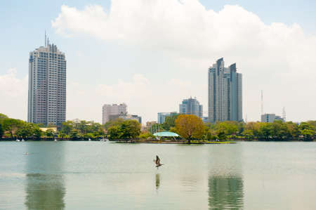 colombo: COLOMBO - APRIL 13: Panorama of Beira Lake on the day of April 13, 2012 in Colombo, Sri Lanka. Colombo is the largest city and the commercial, industrial and cultural capital of Sri Lanka.