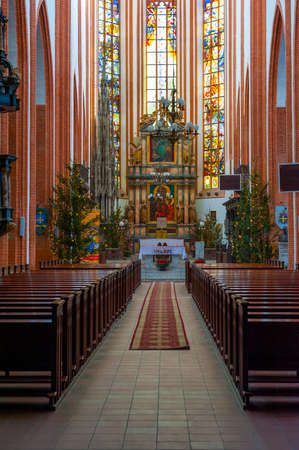 elisabeth: WROCLAW, POLAND - DECEMBER 29: St. Elisabeth Church interior on December 29, 2012 in Wroclaw, Poland. The St. Elisabeth Church is one of the oldest and biggest temples in Wrocław.