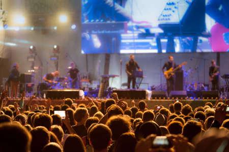 野外ライブ コンサートで観客 写真素材