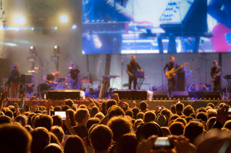 Audience at open-air live concert