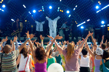 MOSCOW - JUNE 16: People cheering at open-air concert on X International Jazz Festival